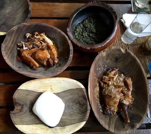 Marathon Chicken, Marula Nut Chicken, Wild Spinach, Mealie