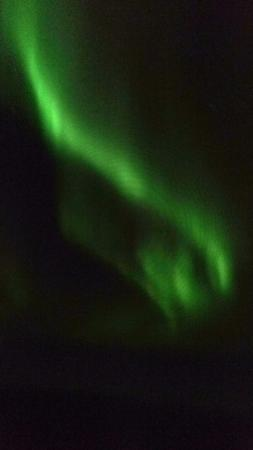 Aurora Borealis Lodge: Taken with a handhelp IPhone using a downloaded app. Does not do the experience justice.