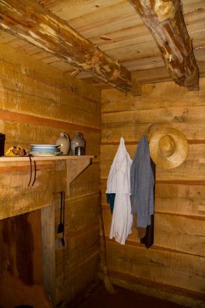 Charlottesville, VA: Slave cabin interior, Monticello grounds.