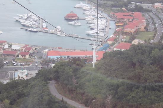 Costa Sur, St. Thomas: Going on the Sky Ride to Paradise point