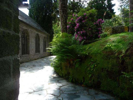 Redruth, UK: A walkway beside St. Just church