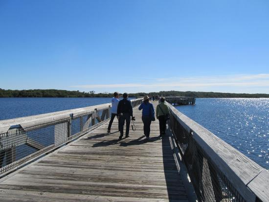 North Palm Beach, FL: Raised boardwalk over the Estuary, walk or take the golf cart.