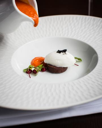 Sutton Forest, Australia: Sweet Bell Pepper Soup, Goat's Cheese Sorbet, Chocolate Chilli Panna Cotta, Pomegranate