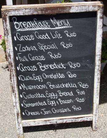 Stanford, Sudáfrica: Breakfast menu