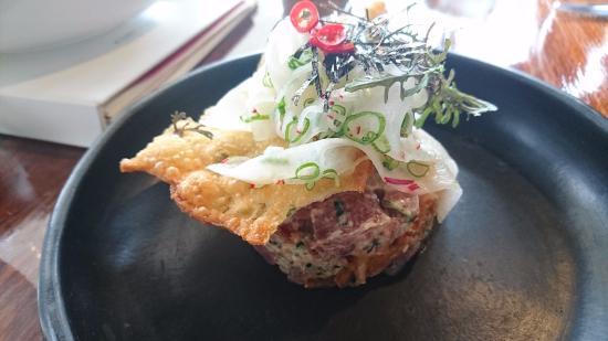 McLaren Vale, Australia: Course cut raw tuna & kim chi tian with mizuna, diakon salad & shallot pancake