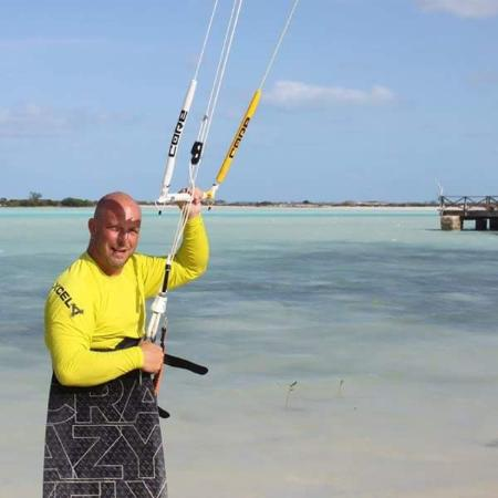George Town, Great Exuma: Kiters come to the dock for a drink