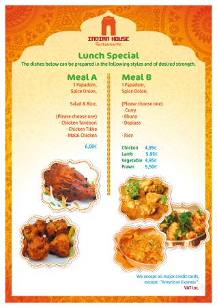 Indian House Tandoori Restaurant: SPECIAL LUNCH MENU