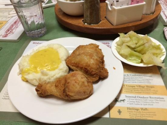 Middlebury, IN: Broasted chicken, mashed potatoes and gravy, steamed cabbage