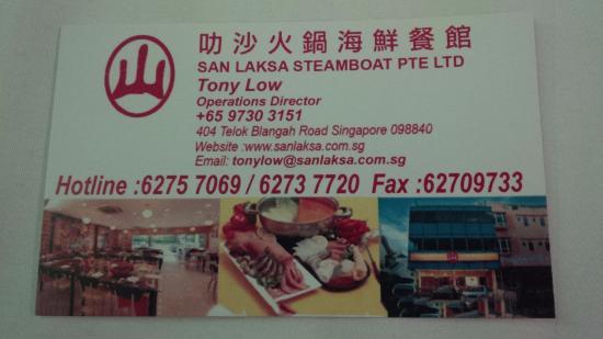 San Laksa Steamboat Pte. Ltd : kartu nama san laksa steamboat. jika ke singapore wajib ke sini.