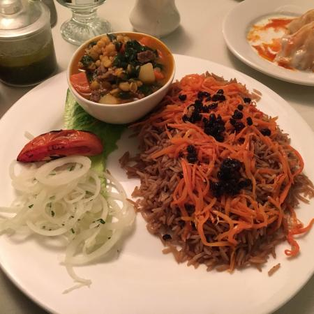 Bayside, NY: Qorma Sabzi (Stewed beef and spinach), Kabuli Palau (Seasoned basmati rice with carrot and raisi