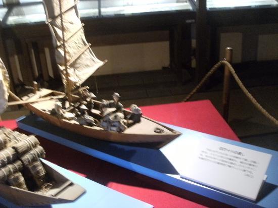 Former Yamaguchi-family Shimoyashiki Nagaya: 四万十川の渡しの模型
