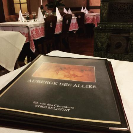 Selestat, Francia: La carte du restaurant
