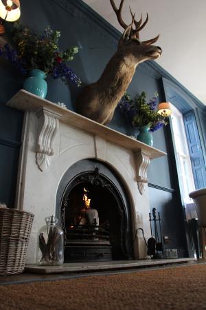 The Verzon Hotel: Restaurant fireplace