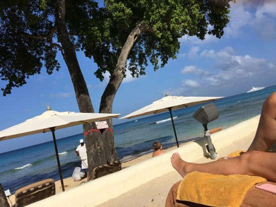 Paynes Bay, Barbados: view from my lounger of the Ocean