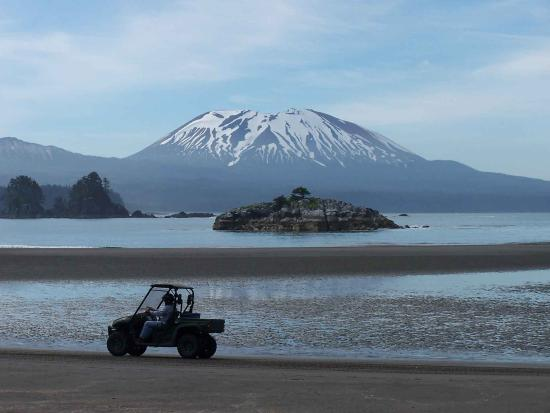 Sitka, AK: North Beach OHV area on Kruzof Island provides beautiful views of Mt Edgecumbe Volcano and Sheli