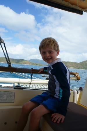Coral Bay, St. John: Our lil man sailing the beautiful waters with Captain Carl!