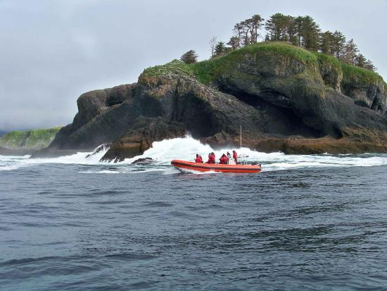 Sitka, AK: Ocean rafting along the coast of St Lazaria Island.