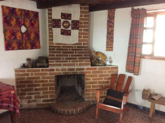 Posada El Arco: Working Fireplace in Room Seven -