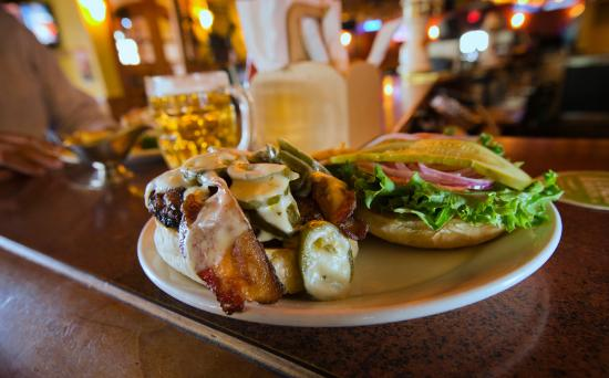 Fernie, Canada: Our loaded Pub burger.