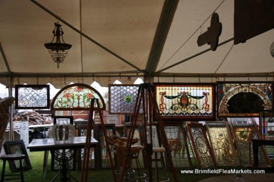 Lots of stained glass windows at Brimfield