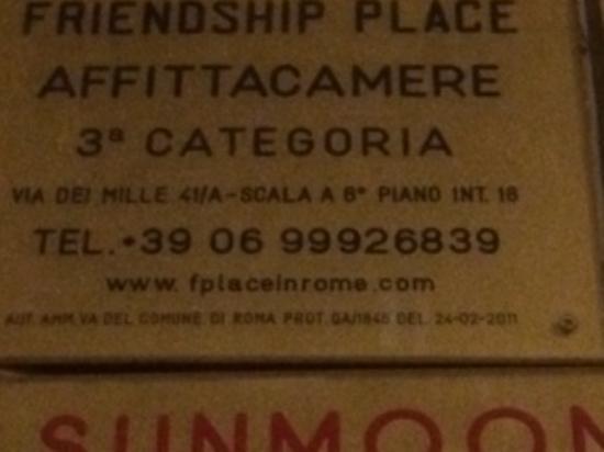 Friendship Place: Questi sono il numero e la scala inesistenti dell'affittacamere