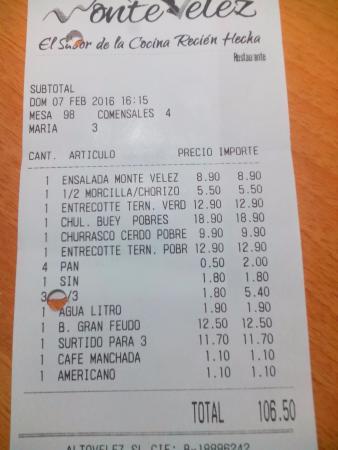 Huetor Vega, Spanien: La cuenta