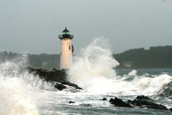 Portsmouth Harbor Lighthouse: The Portsmouth Harbor Light after a storm.