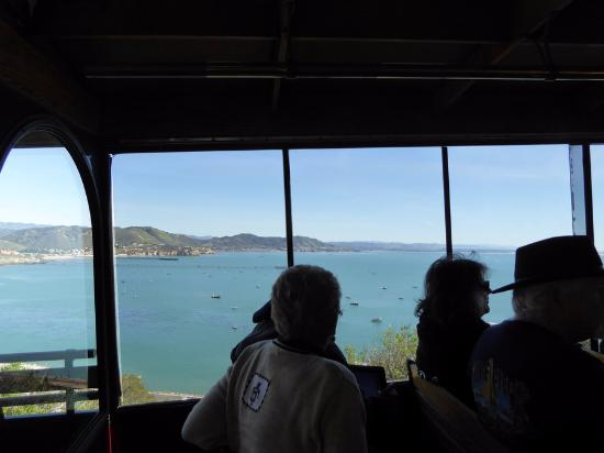 Avila Beach, CA: Inside, looking across the trolley windows to the ocean.