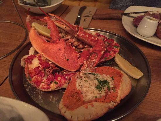 """Truro, UK: Decided to """"push the boat out"""" and add a medium lobster and dressed crab to our fillet steaks! D"""