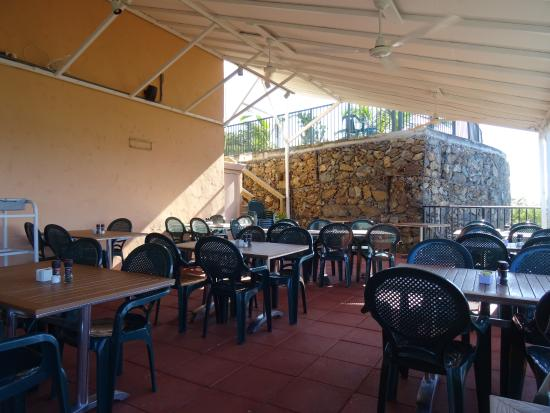Coral Bay, St. John: Inside of the open air restaurant