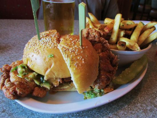 Pittsford, NY: Buffalo chicken sandwich and tuscan fries...