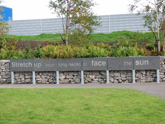 Falkirk, UK: Lines of the poem which inspired the structures are scattered throughout