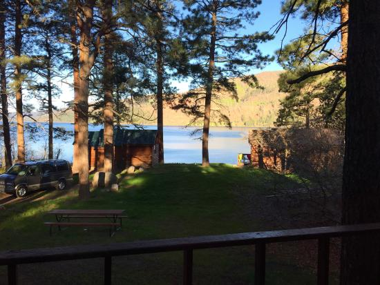 Bayfield, CO: view from large cabin with two others in the foreground