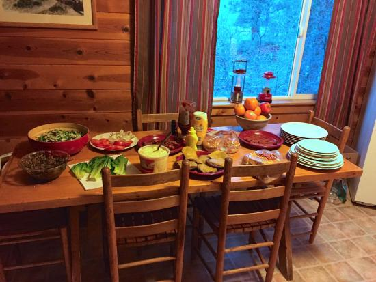 Bayfield, CO: Family stye dinner we prepared - they have a grille