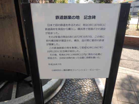 Monument of First Railroad in Japan: 記念碑説明文