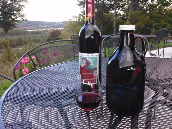 Bellaire, MI: A beautiful day at the TLC...a bottle of red and a jug of cider to go!
