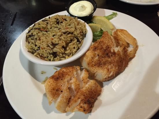 Davison, MI: Fish and chips blackened and steamed with rice pilaf