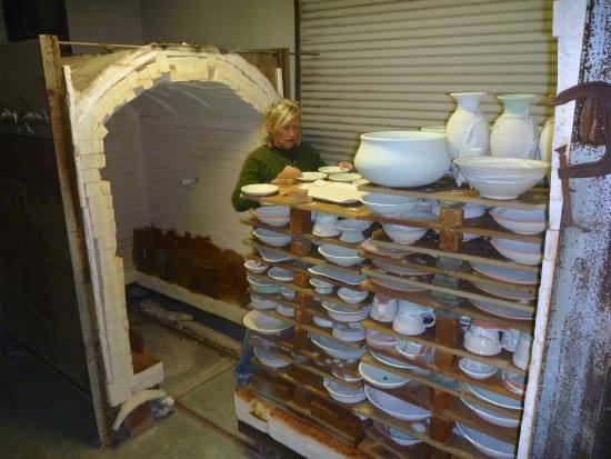 New Smyrna Beach, FL: Teresa loading her kiln and getting ready to fire.