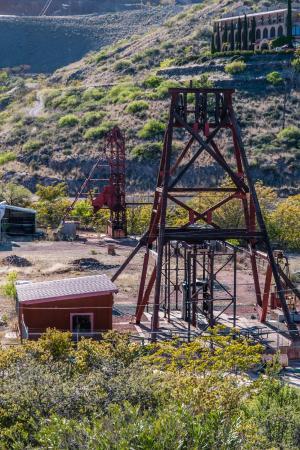 Jerome, AZ: Headframe and Mine from Douglas Mansion