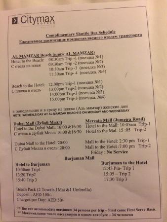 Citymax Hotels Bur Dubai: Hotel shuttle list.