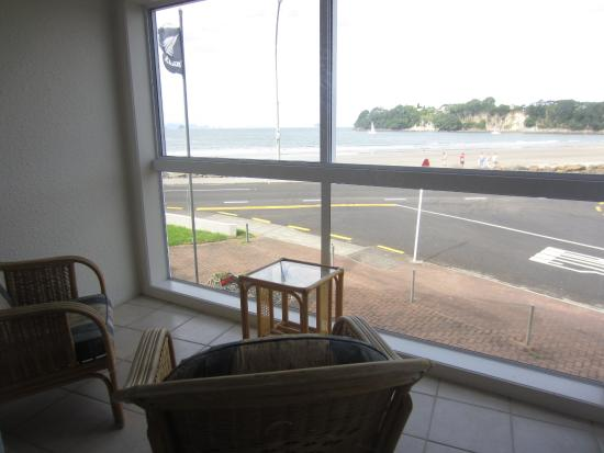 Waterfront Apartments: Balcony and view across road to beach