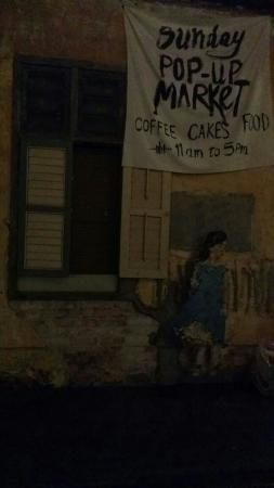 Behind the great coffee shop.