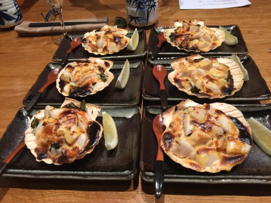 Hashi Cooking : Scallops with Creamy Spicy Sauce on Sushi Rice