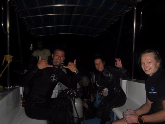 Bayahibe, Δομινικανή Δημοκρατία: after our first night dive with Marcos and Olga :)