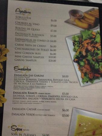 Restaurante Las Garzas: menu