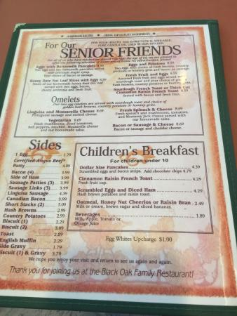 Black Oak Restaurant: Breakfast menu
