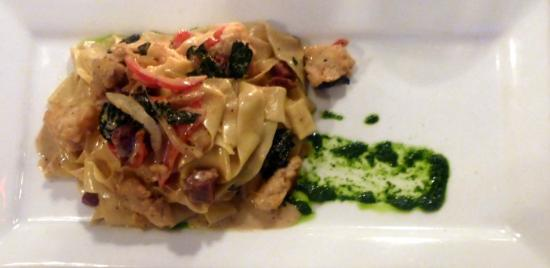 Elements: Hand made papardelle pasta with wine poached lobster