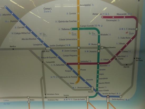 Metro Map Lisboa Kuva Metropolitano De Lisboa Lissabon