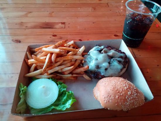 Richardson, TX: Mushroom Swiss burger with Cherry Rootbeer