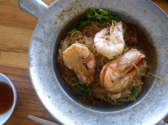 View Seafood Resort: Shrimps mit Nudeln